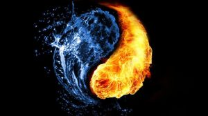 Yin Yang Symbol Fire and Water